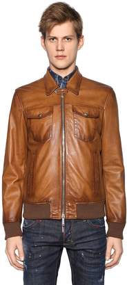 DSQUARED2 Faded Leather Biker Jacket