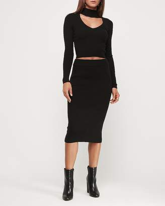 Express High Waisted Ribbed Midi Sweater Skirt