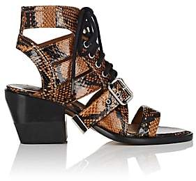 Chloé Women's Python-Print Leather Lace-Up Sandals - Brown