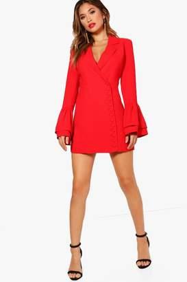 boohoo Boutique Button Through Tuxedo Dress