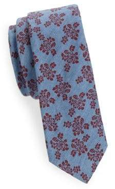 Floral-Print Slim Cotton Tie