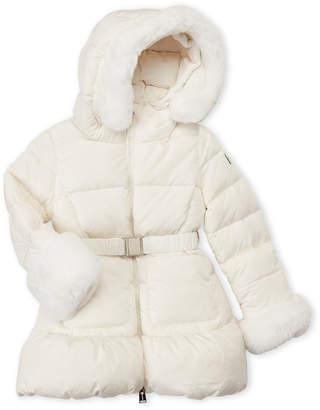 ADD Toddler Girls) Real Fur Trim Hooded Down Coat