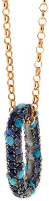 Selim Mouzannar Turquoise Sapphire Link Necklace - Rose Gold