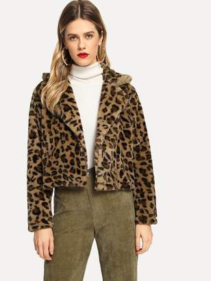 Shein Leopard Print Crop Teddy Jacket
