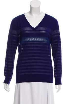 Nina Ricci Lace-Paneled Wool & Silk Sweater