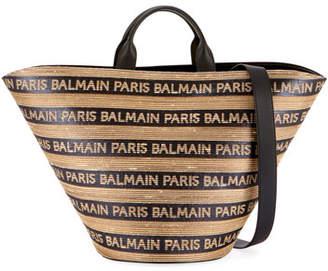 Balmain Panier Plage Raphia Tote Bag