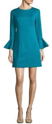 Trina Turk Panache Trumpet-Sleeve Ponte Day Dress