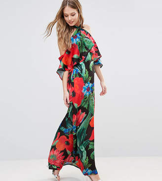 Every Cloud Dark Floral Halterneck Maxi With Ruffle
