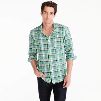 J.Crew Indian madras shirt in green plaid