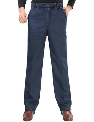 Zoulee Men's Full Elastic Waist Denim Pull On Jeans Straight Trousers Pants S