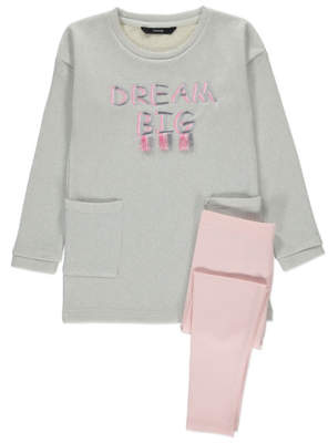 George Grey Shimmering Sweatshirt and Leggings Outfit