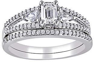 Affinity Diamond Jewelry 1cttw Emerald, Round, & Pear Diamond Set, 14K,b