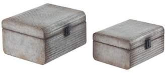 DecMode Decmode Rectangular Metal Latched Storage Boxes, Gray - Set Of 2