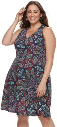 Plus Size Suite 7 Paisley Fit & Flare Dress