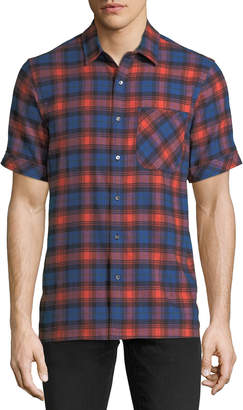 Ovadia & Sons Men's Plaid Short-Sleeve Camp Shirt