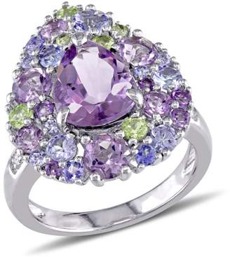 Concerto 0.02 CT. T.W. Diamond and Multi-Gemstone Pear-Shape Cluster Cocktail Ring