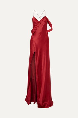 Mason by Michelle Mason Draped Silk-charmeuse Gown - Red