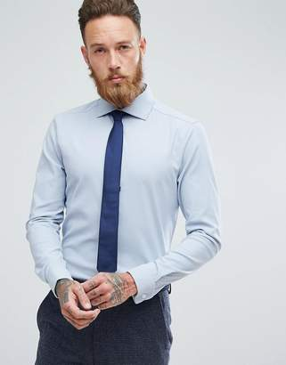Asos Skinny Smart Textured Shirt With Double Cuff In Blue