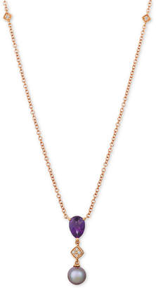 "LeVian Le Vian Ultraviolet Pearl (9mm), Grape Amethyst (1-1/4 ct. t.w.) & Diamond Accent 20"" Pendant Necklace in 14k Rose Gold"