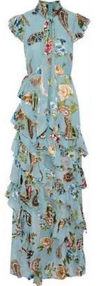 Alice + Olivia Alice+olivia Lessie Ruffled Printed Chiffon Midi Dress