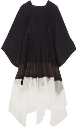 Chloé Two-tone Plisse-paneled Chiffon Midi Dress