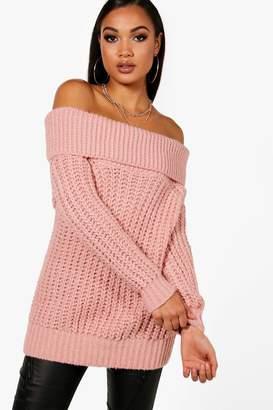 boohoo Tiffanie Soft Knit Marl Bardot Jumper