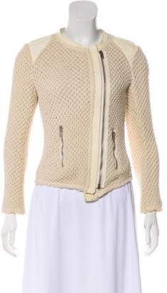 IRO Leather-Trimmed Knit Cardigan