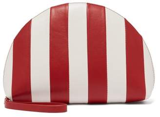 Mansur Gavriel Mini Moon Striped Leather Clutch - Womens - Red White