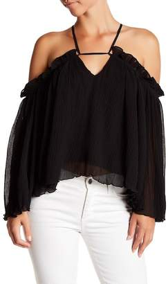 Gracia Pintuck Pleat Ruffle Off-the-Shouder Blouse