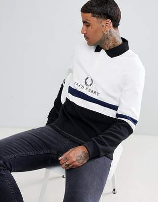 Fred Perry Sports Authentic 90s logo rugby sweat in white
