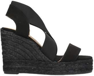 Castaner Bambu Black Canvas Wegde Sandals