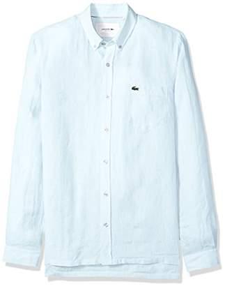 d6b03577fe09ce Lacoste Men s Long Sleeve Solid Linen Button Down Collar Reg Fit Woven Shirt