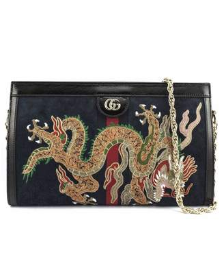 Gucci Ophidia Embroidered Medium Shoulder Bag In Blue Suede