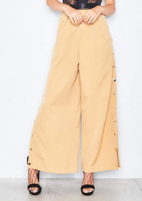 Missy Empire Missyempire Alena Camel Wide Leg Side Button Trousers