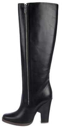 19bf883e583 Theyskens' Theory Leather Square-Toe Knee-High Boots