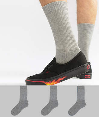 Asos Design Sports Style Socks In Grey Marl 3 Pack