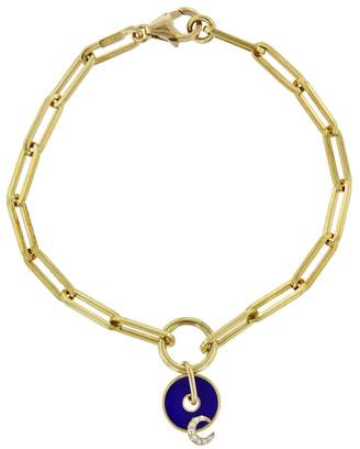 Foundrae Blue Crescent Moon Disk On Clip Chain Bracelet