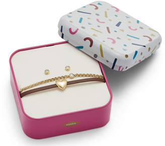 Fossil Heart Gold-Tone Stainless Steel Studs and Bracelet Box Set