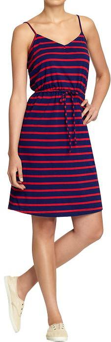 Women's Drawstring V-Neck Jersey Dresses