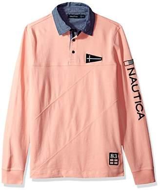 Nautica Men's Long Slim Fit Heritage Logo Sleeve Polo Shirt