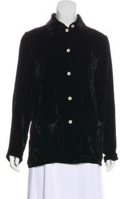 Jean Paul Gaultier Velvet Button-Up Top