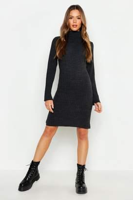 boohoo Roll Neck Knitted Midi Dress