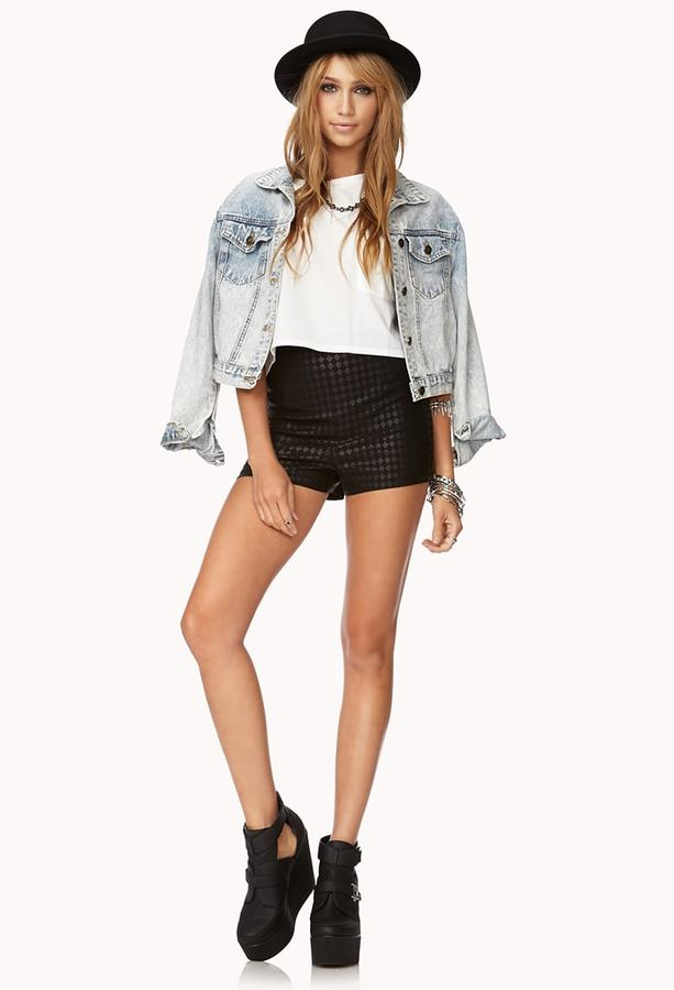 Forever 21 High-Waisted Checkered Shorts