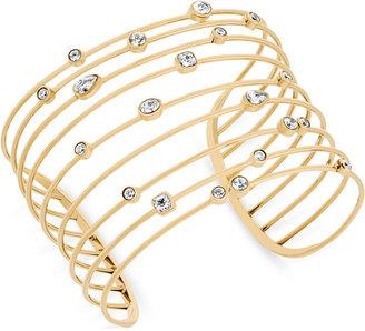Michael Kors Gold-Tone Crystal Studded Openwork Cuff Bracelet