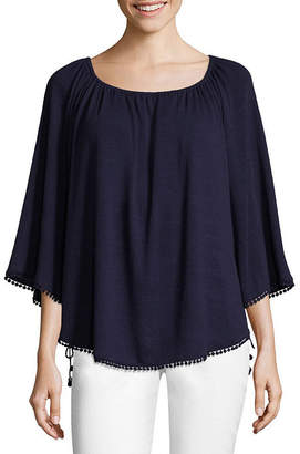 John Paul Richard JOHNPAULRICHARD 3/4 Sleeve Pom Pom Trim Side Tie Top