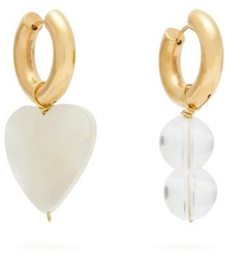 Timeless Pearly - Mismatched Heart And Bead Earrings - Womens - Pearl