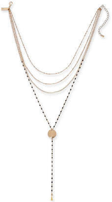 "INC International Concepts I.n.c. Gold-Tone & Colored Bead Layered Lariat Necklace, 14"" + 3"" extender, Created for Macy's"