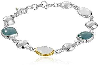 Gurhan Lentil Sterling Aquamarine and Rainbow Moonstone Bracelet