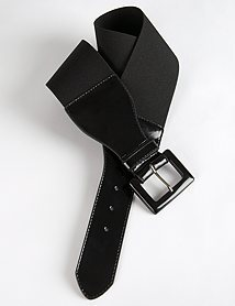 Ann Taylor Loft Wide Patent Detail Stretch Belt