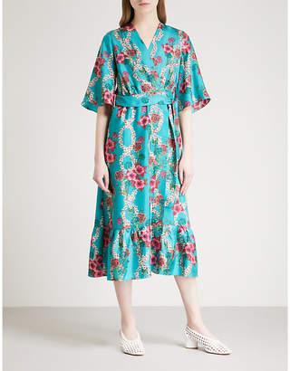 Sandro Floral-print kimono silk dress